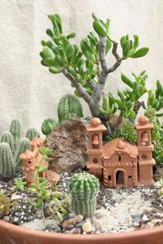 What a charming succulent vignette. - What a charming succulent vignette. Mini Cactus Garden, Mini Fairy Garden, Succulent Gardening, Garden Terrarium, Fairy Garden Houses, Succulent Terrarium, Cactus Flower, Vegetable Gardening, Succulents In Containers