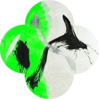 Max Gimblett / Acrylic & Vinyl Polymers, Iridescent Pearl Fine, Fluorescent Paint, Aqua Size, Aluminum Leaf on Canvas
