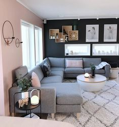 Cozy Living Room For Your Home - Living Room Design Small Living Room Design, Living Room Decor Cozy, Living Room Goals, Living Room Grey, Living Room Designs, Living Spaces, Lamps In Living Room, Blue And Pink Living Room, Grey Room
