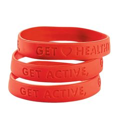 "Imprinted with ""Get Active, Get Healthy"", these rubber bracelets are a great way to spread education and awareness of heart-health in the month of February. Heart Health Bracelets - OrientalTrading.com"