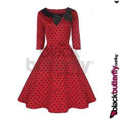 Retro Swing Dress | ... BLACK POLKA DOT COLLARED VINTAGE 1950's ROCKABILLY SWING EVENING DRESS