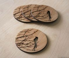 Wintersong Coasters & Laser cut from Birch.: Wintersong Coasters & Laser cut from Birch.: Wintersong Coasters & Laser cut from Wood Burning Crafts, Wood Burning Art, Wood Crafts, Laser Art, Laser Cut Wood, Laser Cutting, Laser Cutter Ideas, Laser Cutter Projects, Wood Projects