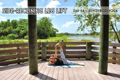 #EverybodyYoga Day 4: Side-Reclining Leg Lift - another pose that helps to tone your core --- Yoga is for every body!