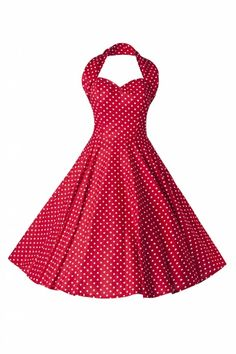 Vivien of Holloway - 50s Retro halter polka mini dot red white dress