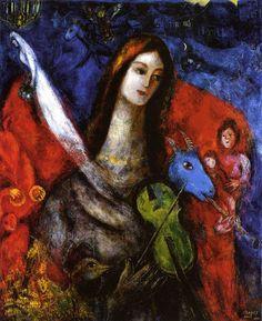 Marc Chagall (1887-1985) - Concert Bleu, 1945, huile sur toile, 49-½ x 40-½ in source : http://www.abbeville.com