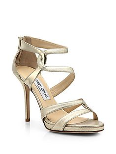 Jimmy Choo Tomar Twist Metallic Leather Platform Sandals