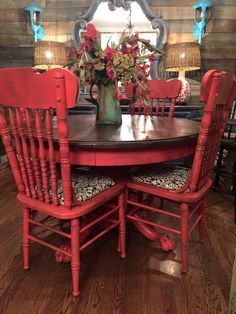 Colorful Kitchen Tables, Small Dining Table Set, Painted Kitchen Tables, Kitchen Table Chairs, Kitchen Table Makeover, Farmhouse Kitchen Tables, Dining Room Table, Diy Furniture Renovation, Furniture Makeover