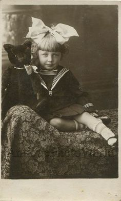 Beautiful Girl with Bow in Hair and Large Teddy Bear Toy Antique Photo