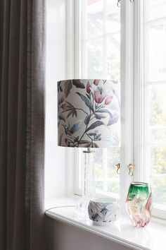 Vintage lamp and vase in the big window. Big Windows, Vintage Lamps, Light Up, Curtains, Bedroom, Inspiration, Design, Home Decor, Drawing Rooms