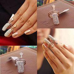 Fancy Finger Nail Ring Crystal Diamond Wrap Fingernail Ring Claw Nail Art Decor