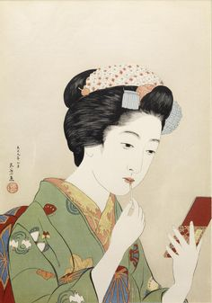 .:. Full Size: 紅筆持てる女 (Woman Applying Color to Her Lips). Hashiguchi Goyo (Japanese, 1st quarter 20th century) 1920