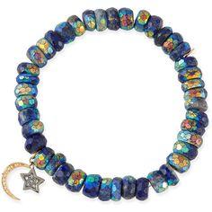 Sydney Evan 8mm Mystic Lapis Beaded Bracelet with Diamond Moon & Star... (€700) ❤ liked on Polyvore featuring jewelry, bracelets, accessories, purple, 14k charm bracelet, diamond bracelet bangle, diamond charms, beaded stretch bracelet and diamond bracelet