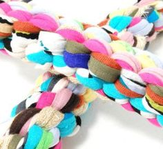 To make this great toy for your dog I used, 12 strings t-shirt yarn from about 1,2 yard long. You devide the string in four parts from 3 strings and start the scoubidou technic, one I did with the ...