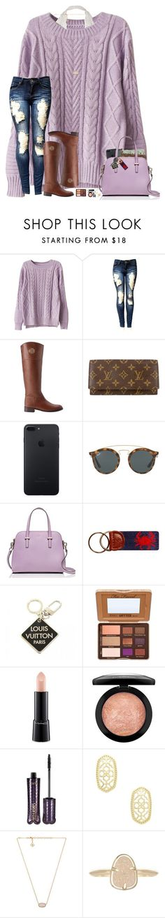 """s w e a t e r w e a t h e r "" by hopemarlee ❤ liked on Polyvore featuring WithChic, Tory Burch, Louis Vuitton, Ray-Ban, Kate Spade, Cherokee, Too Faced Cosmetics, MAC Cosmetics, tarte and Kendra Scott"
