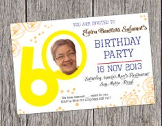 Save the Date Card for 60th Birthday Celebration Invitation Ideas