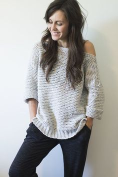 """Today I have an incredibly special design for you... I've written my very first sweater pattern, and I've called it """"The Homebody Sweater"""". Let me tell ya, it's already gotten great use in my home. It's so so comfy. The drape and casual-ness of it is just, ugh... the best!!"""