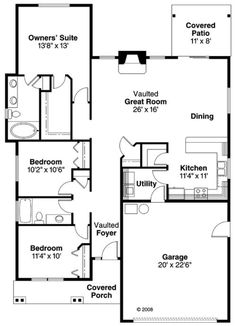 Craftsman Style House Plan - 3 Beds 2 Baths 1610 Sq/Ft Plan #124-763 Main Floor Plan - Houseplans.com.  3/2