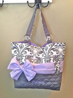 Personalized Diaper Bag In Lavender & Grey Damask.  Interchangeable Sash in Polka Dot or Solid Lavender on Etsy, $95.00