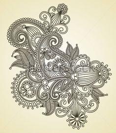 Hand Tekenen Lijn Art Sierlijke Bloem Oekraïense Traditionele clip arts - ClipartLogo.com