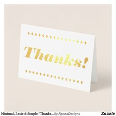 """Shop Minimal, Basic & Simple """"Thanks!"""" Card created by AponxDesigns. Paper Envelopes, White Envelopes, Thank You Greeting Cards, Thanks Card, Colored Paper, Minimalism, Thankful, Sparkle, Place Card Holders"""
