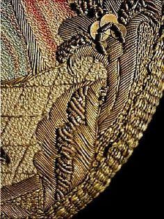 c. 18th Century (likely c. 1750)  Shield Shape French Gold Bullion and Silk Couched Embroidered Figural Pocket Purse with Gold Sequins