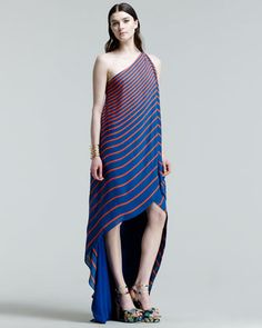 8f8239b85eb Halston Heritage Striped One-Shoulder High-Low Gown
