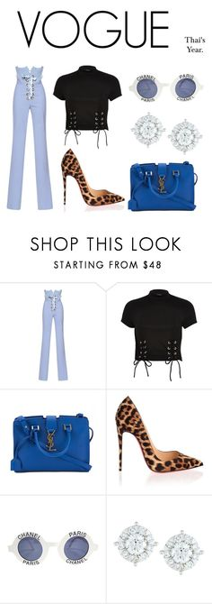 """""""Stylin in vogue straight killin."""" by thaijohnson ❤ liked on Polyvore featuring Francesco Scognamiglio, River Island, Yves Saint Laurent, Christian Louboutin, Chanel and Mémoire"""