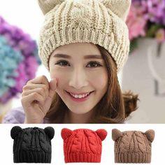 Dosmart - Womens Winter Beret Cat Ear Knitted Warm Cap Woolen Hat - Walmart .com 9a1c9f59499