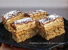 Dessert cake with ness cream and walnut Hungarian Desserts, Romanian Desserts, Hungarian Recipes, Romanian Food, Romanian Recipes, Sweets Recipes, Cookie Recipes, Food Cakes, Cupcake Cakes