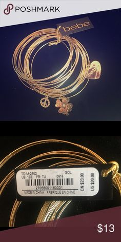 "Bebe gold bracelet set 2 3/4"" diameter gold-tone multi-bangle bracelet set bebe Jewelry Bracelets"