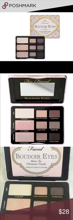 Too Faced Boudoir Eyes Soft & Sexy Collection Hello you beautiful doll! Too Faced Boudoir Eyes Soft & Sexy Eyeshadow Collection..a definite must have in anyone's collection! Fair, Medium or Dark... this pallete is for all of us gorgeous creatures! Comes with booklet that gives step by step instructions for three looks. This pallete is one of those essential palletes that  will be well loved and used. Every color is a hit! Swatched then put away. I have one already (of course LOL)! Why pay…