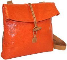 Nino Bossi Embossed Croco Convertible Cross Body Backpack Tangerine