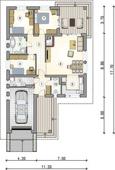 Tip Top III. Parterowy dom z czterospadowym dachem i tarasem - Studio Atrium Model House Plan, House Plans, Tip Top, Interior Design Sketches, Floor Plans, How To Plan, Studio, Architecture, Atrium