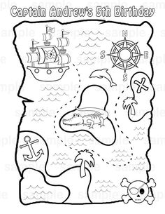 Personalized Printable Pirate Treasure Map Birthday Party Favor childrens kids coloring page book activity PDF or JPEG file by SugarPieStudio on Etsy Treasure Maps For Kids, Pirate Treasure Maps, Pirate Maps, Pirate Theme, Buried Treasure, Treasure Chest, Pirate Coloring Pages, Flag Coloring Pages, Coloring For Kids