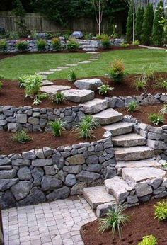 Garden stairs are less formal than indoor stairs, so you don't need to follow precise measurements and you can DIY them according to your likes and the theme of the garden. The most popular material for building stairs is the stone. Stone steps and stairs look natural and free forming. Besides the natural stone, rustic wood, concrete blocks and railway.. #rusticlandscapefrontyard