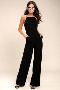 With a chic blazer, leather jacket, or coat, there's no end to how you could style the Enticing Endeavors Black Jumpsuit! This sleeveless jumpsuit is made from lightly textured knit with a squared-off neckline, and seamed bodice. High-waisted pant legs fall to a classic wide cut. Hidden back zipper. As Seen On Sheida of @inmyblondelife!