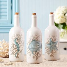 Two's Company White Bottle With Sealife Motif and Cork Set of 3