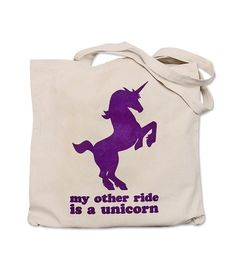 Canvas Tote Bag  My Other Ride is a UNICORN print by theboldbanana, $12.00
