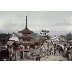 A photo of a pagaoda at Kiyomizu in Kyoto from T. Enami's collection of Japan life during the late 19th century and the beginning of the Meiji Restoration  #tenami #EnamiNobukuni #江南信國 #歴史 #日本 #幕府 #幕末 #将軍 #japan #japanesehistory #history #bakufu #bakumatsu #明治時代 #MeijiRestoration #pagoda #kyoto #京都 #kiyomizu #清水 (by samurai_tamashii)