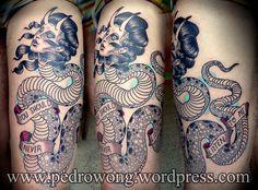 #pedrowong #perewong #pw #tattoos #snake #girl #demon #temptation
