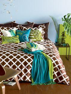 Brown, Teal, Green Bedroom