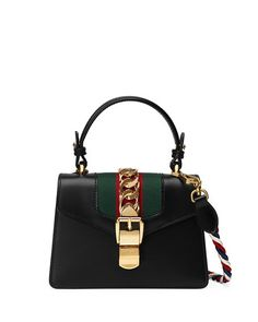 GUCCI Sylvie Small Top-Handle Satchel Bag. #gucci #bags #shoulder bags #hand bags #leather #satchel #lining #