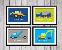 Trucks transportation boy art prints por RainbowsLollipopsArt