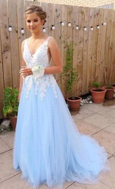 sky blue sleeveless prom dress,applique tulle v-neck school event dress,backless evening dress · Sweet Baby · Online Store Powered by Storenvy Burgundy Homecoming Dresses, Prom Dresses For Teens, Dresses Short, Sexy Dresses, Fashion Dresses, Dress Long, Summer Dresses, Dresses Uk, Tight Dresses