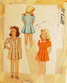 Vintage 1940s McCall's Girls' Dress Pattern by NostalgiaVintage2, $5.50