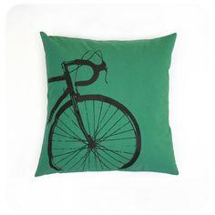Bike Pillow Cover 16x16 Green with Dark Brown Road Bike Screenprint by Boomerang360 on Etsy