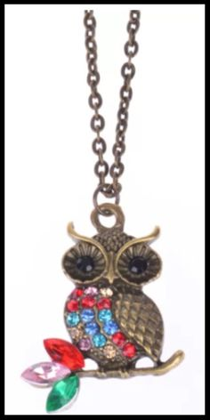 Owl Necklace with Rhinestone Necklace Owl Necklace, Rhinestone Necklace, Trendy Jewelry, Vintage Earrings, Christmas Ornaments, Holiday Decor, Fashion Jewelry, Christmas Ornament, Christmas Topiary