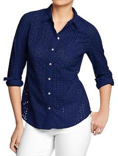 Eyelet-Pocket Shirt (I'd keep mine buttoned up, but layered over a short-sleeved bodysuit or something.)