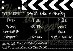 Movie Invitation, Cupcake Picks, Circles, and Banner Outdoor Movie Birthday, Backyard Movie Party, Outdoor Movie Party, Outdoor Movie Nights, 5th Birthday Party Ideas, 10th Birthday Parties, Grad Parties, Hollywood Classroom, Hollywood Theme
