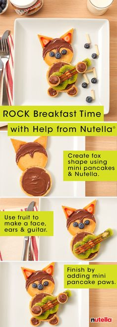 Get your kids going in the morning with a breakfast that really rocks. All you'll need to bring this fox to life are mini pancakes, fresh fruit and Nutella®.